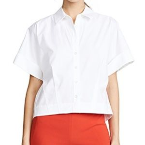 Theory Cropped Poplin Button-Down Shirt L